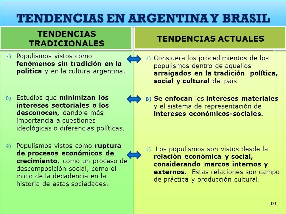 TENDENCIAS EN ARGENTINA Y BRASIL 7) Populismos vistos como fenómenos sin tradición en la política y en la cultura argentina. 8) Estudios que minimizan