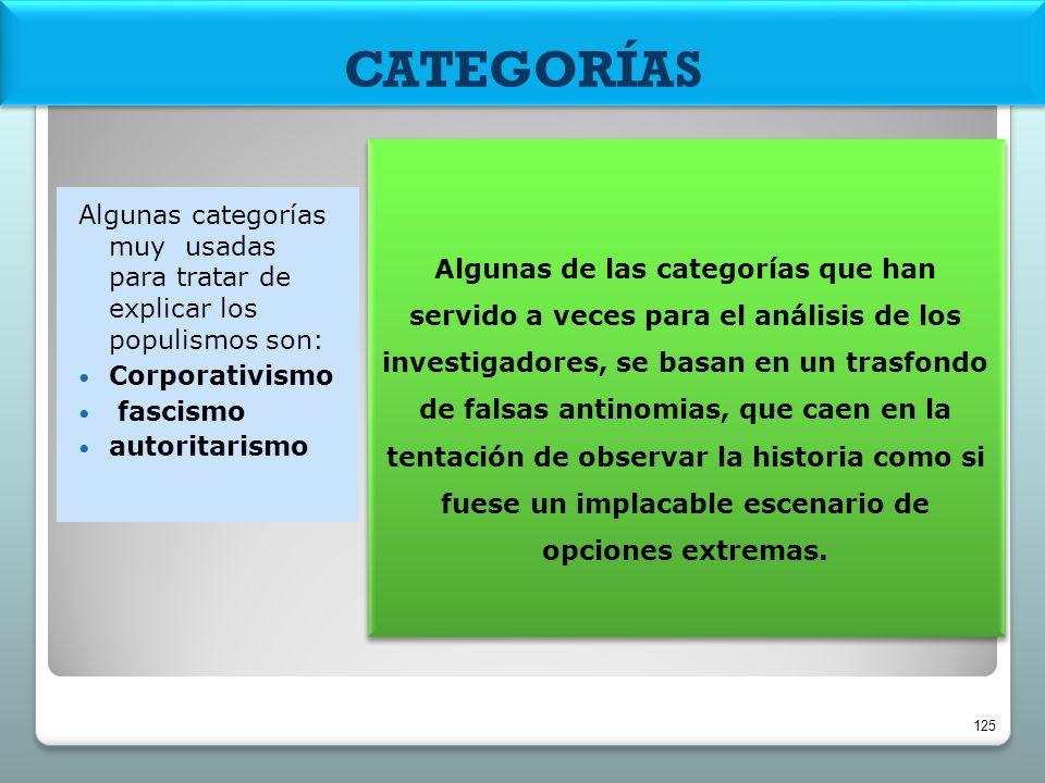 CATEGORÍAS Algunas de las categorías que han servido a veces para el análisis de los investigadores, se basan en un trasfondo de falsas antinomias, qu