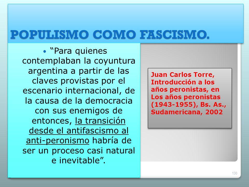 POPULISMO COMO FASCISMO. Juan Carlos Torre, Introducción a los años peronistas, en Los años peronistas (1943-1955), Bs. As., Sudamericana, 2002 Para q