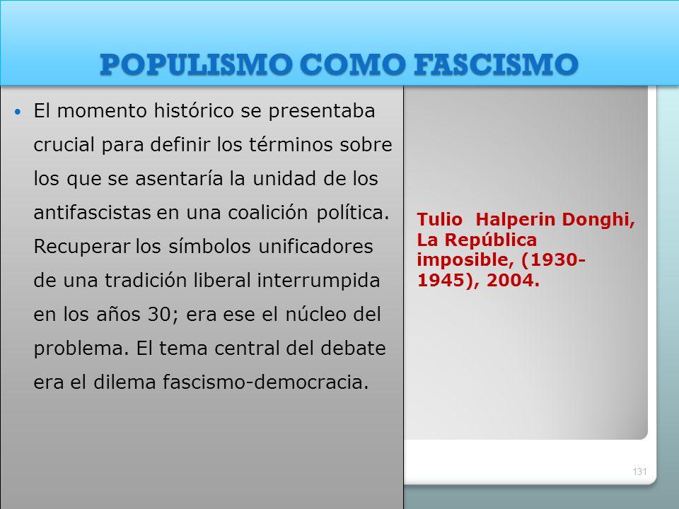 Tulio Halperin Donghi, La República imposible, (1930- 1945), 2004. El momento histórico se presentaba crucial para definir los términos sobre los que