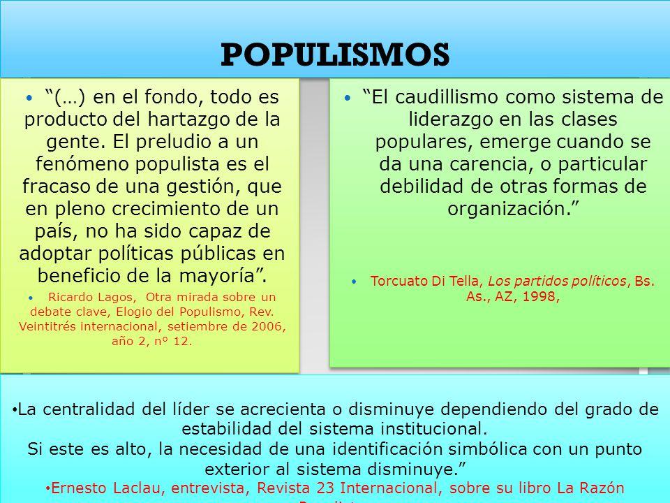 POPULISMOS (…) en el fondo, todo es producto del hartazgo de la gente. El preludio a un fenómeno populista es el fracaso de una gestión, que en pleno