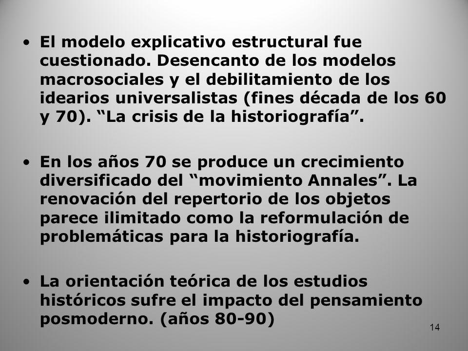 El modelo explicativo estructural fue cuestionado. Desencanto de los modelos macrosociales y el debilitamiento de los idearios universalistas (fines d