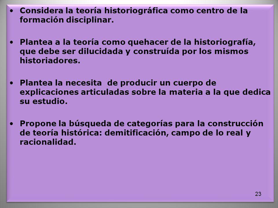 Considera la teoría historiográfica como centro de la formación disciplinar. Plantea a la teoría como quehacer de la historiografía, que debe ser dilu