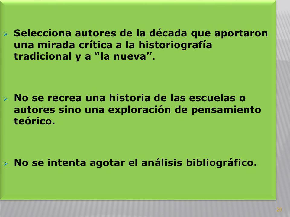 Selecciona autores de la década que aportaron una mirada crítica a la historiografía tradicional y a la nueva. No se recrea una historia de las escuel