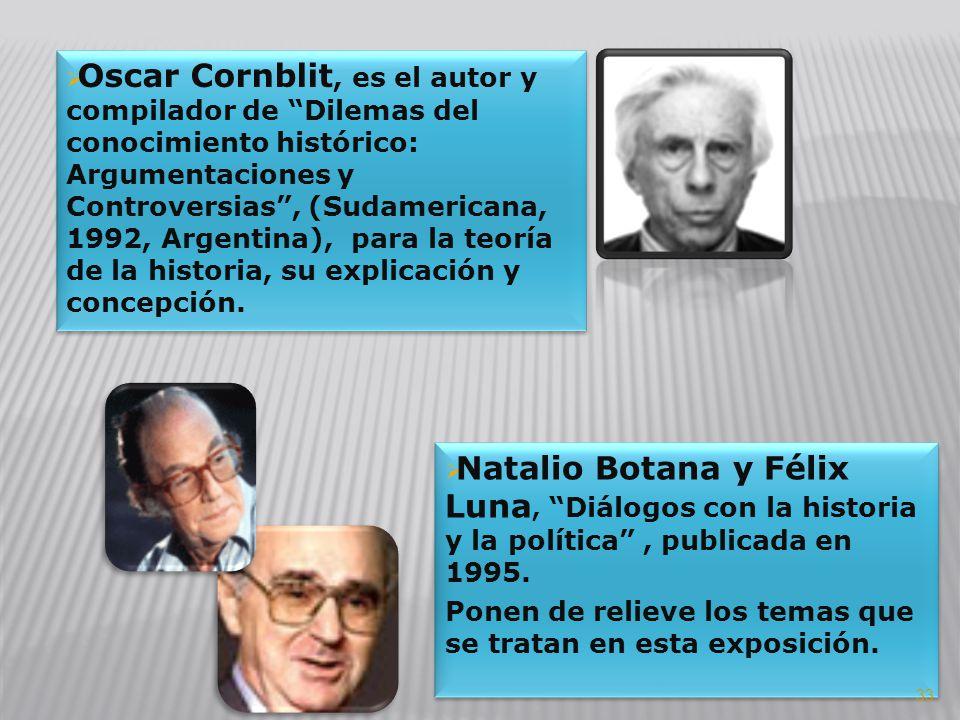Oscar Cornblit, es el autor y compilador de Dilemas del conocimiento histórico: Argumentaciones y Controversias, (Sudamericana, 1992, Argentina), para