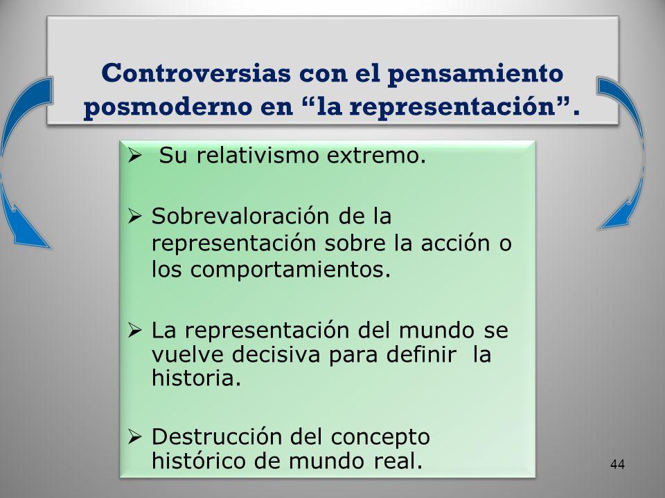 Controversias con el pensamiento posmoderno en la representación. 44
