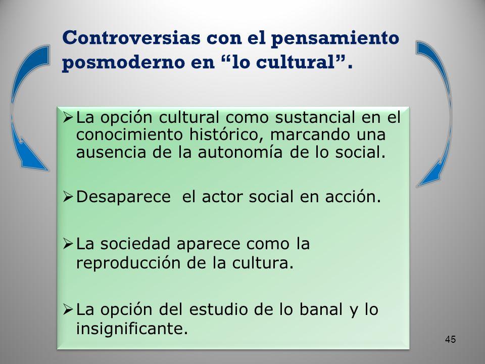 Controversias con el pensamiento posmoderno en lo cultural. La opción cultural como sustancial en el conocimiento histórico, marcando una ausencia de