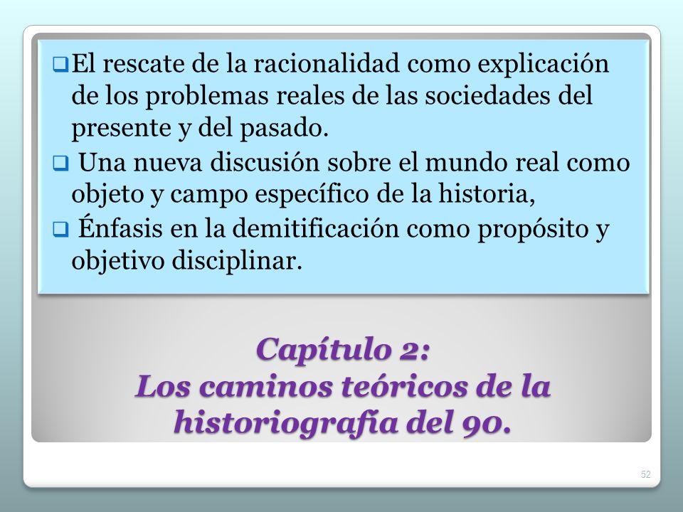Capítulo 2: Los caminos teóricos de la historiografía del 90. El rescate de la racionalidad como explicación de los problemas reales de las sociedades