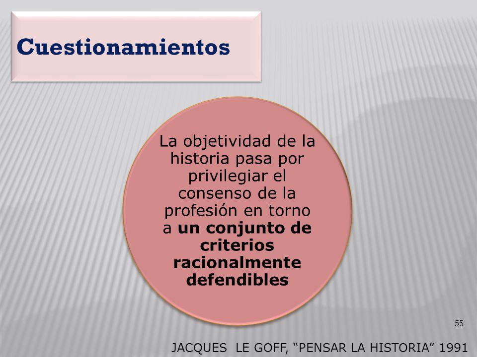 La objetividad de la historia pasa por privilegiar el consenso de la profesión en torno a un conjunto de criterios racionalmente defendibles JACQUES L