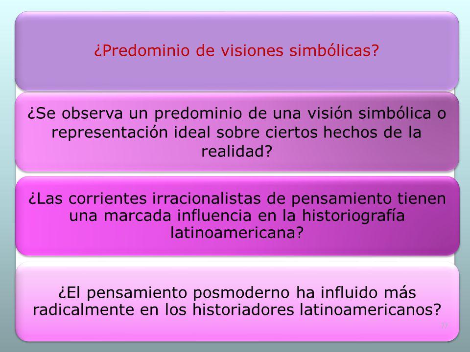 ¿Se observa un predominio de una visión simbólica o representación ideal sobre ciertos hechos de la realidad? ¿Las corrientes irracionalistas de pensa