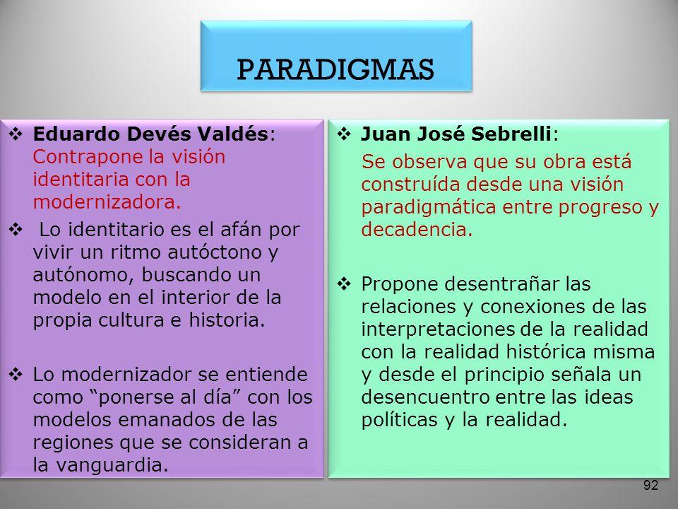 PARADIGMAS Eduardo Devés Valdés: Contrapone la visión identitaria con la modernizadora. Lo identitario es el afán por vivir un ritmo autóctono y autón