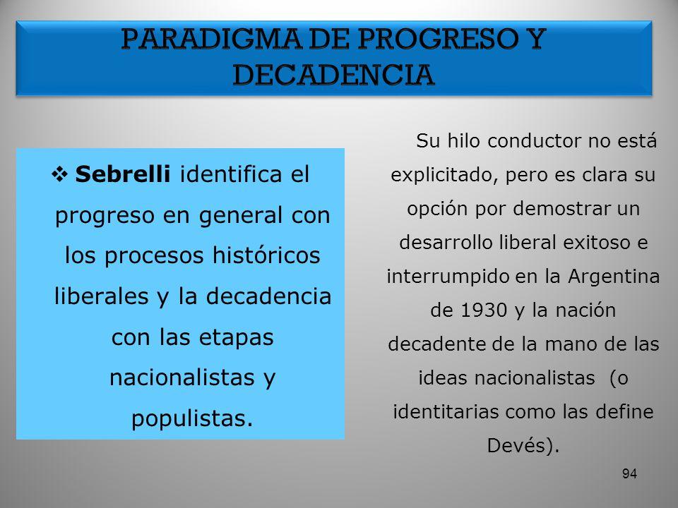 Sebrelli identifica el progreso en general con los procesos históricos liberales y la decadencia con las etapas nacionalistas y populistas. Su hilo co