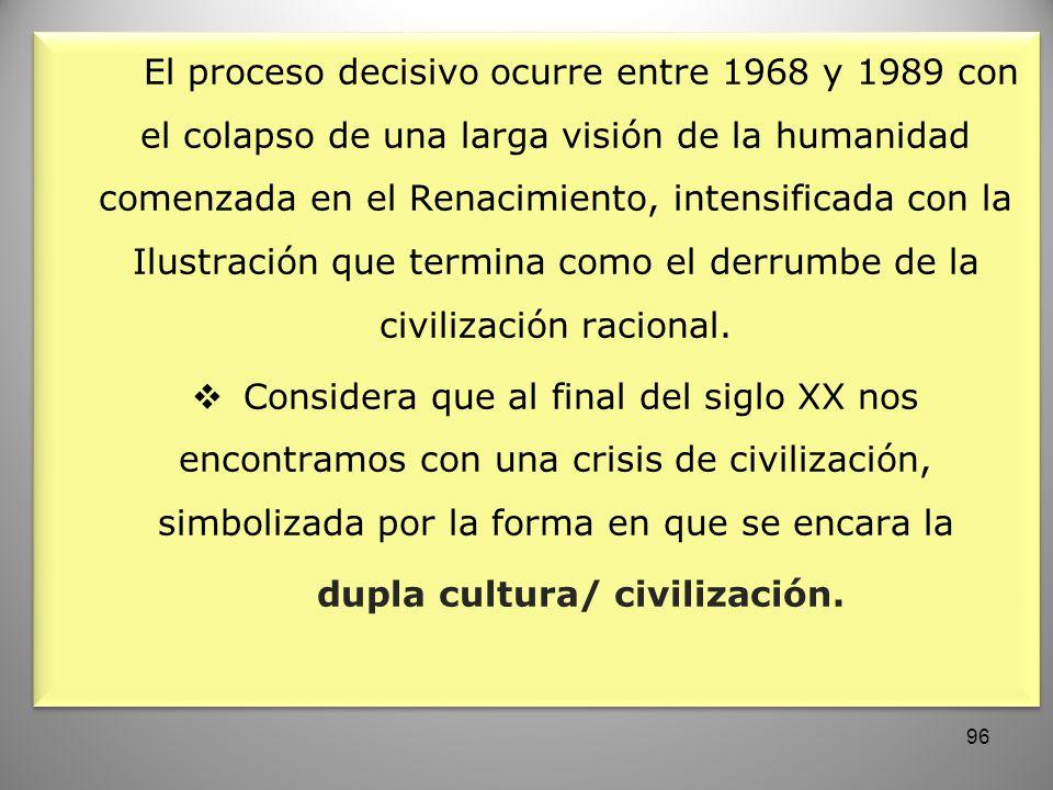 El proceso decisivo ocurre entre 1968 y 1989 con el colapso de una larga visión de la humanidad comenzada en el Renacimiento, intensificada con la Ilu