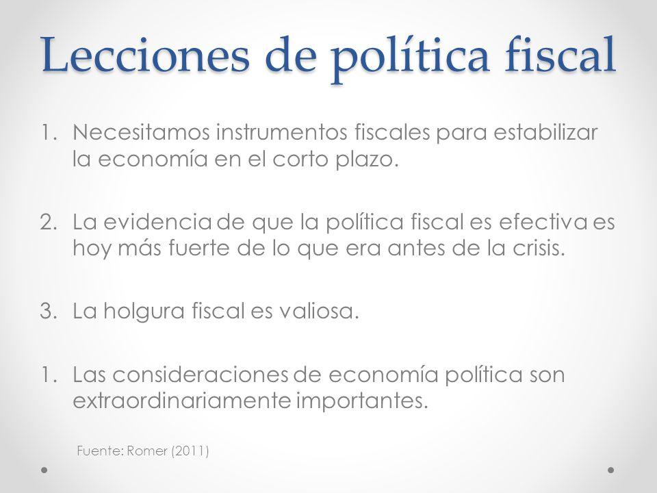 Lecciones de política fiscal 1.Necesitamos instrumentos fiscales para estabilizar la economía en el corto plazo. 2.La evidencia de que la política fis