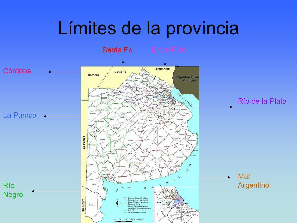Límites de la provincia La Pampa Río Negro Córdoba Santa FeEntre Ríos Mar Argentino Río de la Plata