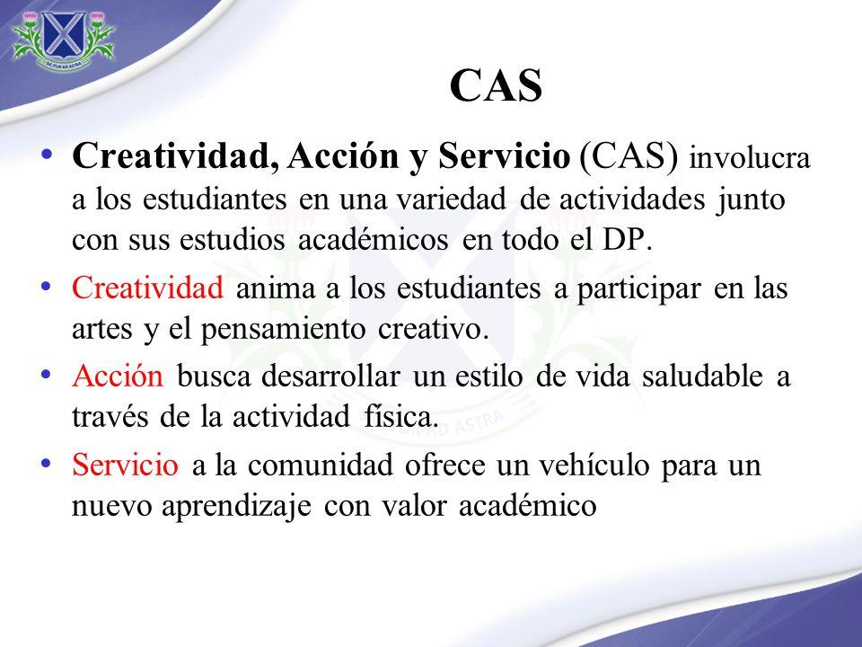 CAS Creatividad, Acción y Servicio (CAS) involucra a los estudiantes en una variedad de actividades junto con sus estudios académicos en todo el DP. C