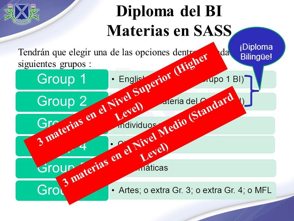 English ( materia del Grupo 1 BI) Group 1 Español (materia del Grupo 1 BI) Group 2 Individuos y Sociedades Group 3 Ciencias Group 4 Matemáticas Group
