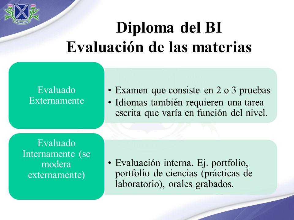 Diploma del BI Evaluación de las materias Examen que consiste en 2 o 3 pruebas Idiomas también requieren una tarea escrita que varía en función del ni