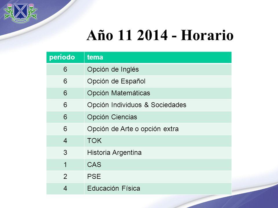 Año 11 2014 - Horario períodotema 6Opción de Inglés 6Opción de Español 6Opción Matemáticas 6Opción Individuos & Sociedades 6Opción Ciencias 6Opción de