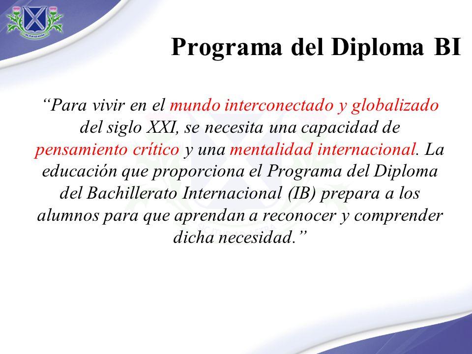 Programa del Diploma del BI Amplitud Especialización Equilibrio entre 6 áreas de conocimiento Elección de materias Elección de niveles (NS/NM) Elección de materia Grupo 6 Monografía
