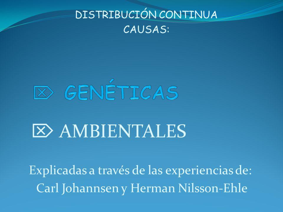 DISTRIBUCIÓN CONTINUA CAUSAS: AMBIENTALES Explicadas a través de las experiencias de: Carl Johannsen y Herman Nilsson-Ehle