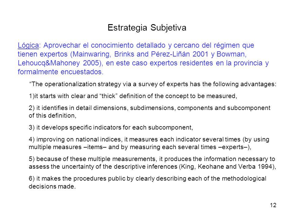 Lógica: Aprovechar el conocimiento detallado y cercano del régimen que tienen expertos (Mainwaring, Brinks and Pérez-Liñán 2001 y Bowman, Lehoucq&Maho