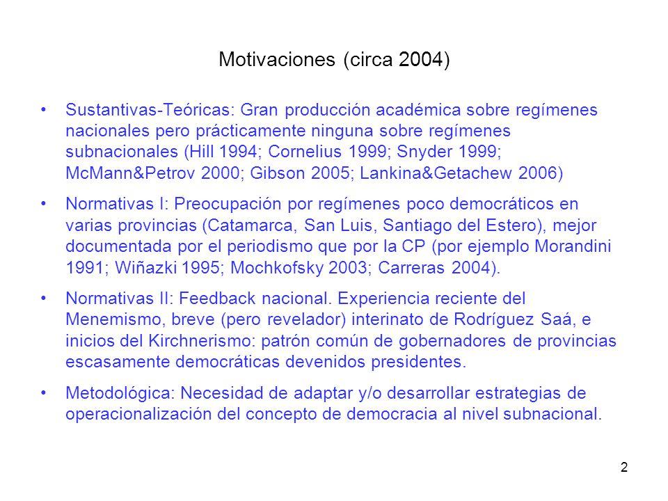 Motivaciones (circa 2004) Sustantivas-Teóricas: Gran producción académica sobre regímenes nacionales pero prácticamente ninguna sobre regímenes subnac