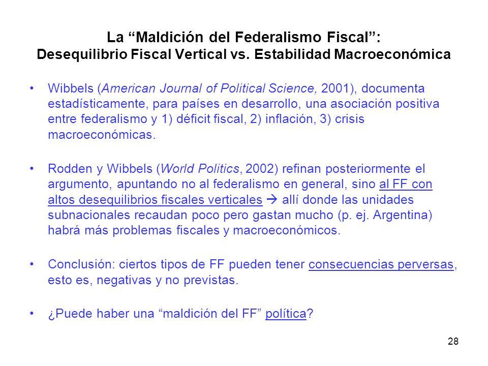 La Maldición del Federalismo Fiscal: Desequilibrio Fiscal Vertical vs. Estabilidad Macroeconómica Wibbels (American Journal of Political Science, 2001