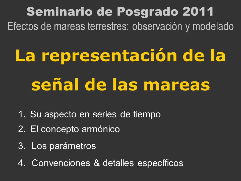 La representación de la señal de las mareas Seminario de Posgrado 2011 Efectos de mareas terrestres: observación y modelado 1.Su aspecto en series de