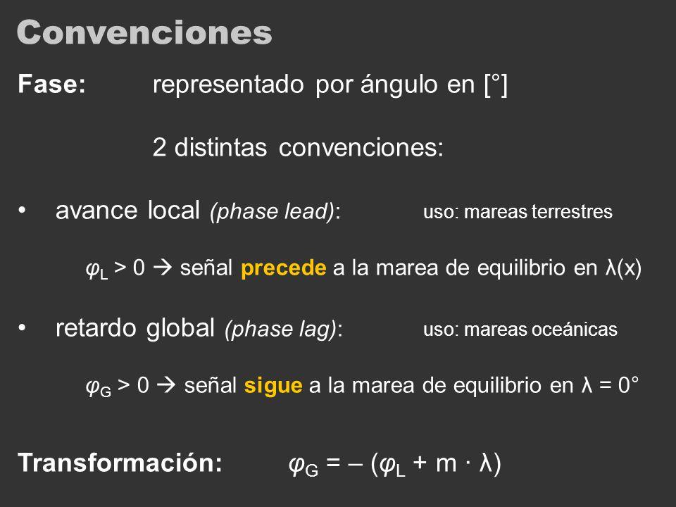 Convenciones Fase:representado por ángulo en [°] 2 distintas convenciones: avance local (phase lead): uso: mareas terrestres φ L > 0 señal precede a l