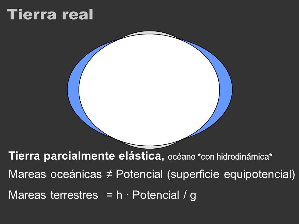 Tierra real Tierra parcialmente elástica, océano *con hidrodinámica* Mareas oceánicas Potencial (superficie equipotencial) Mareas terrestres = h · Pot