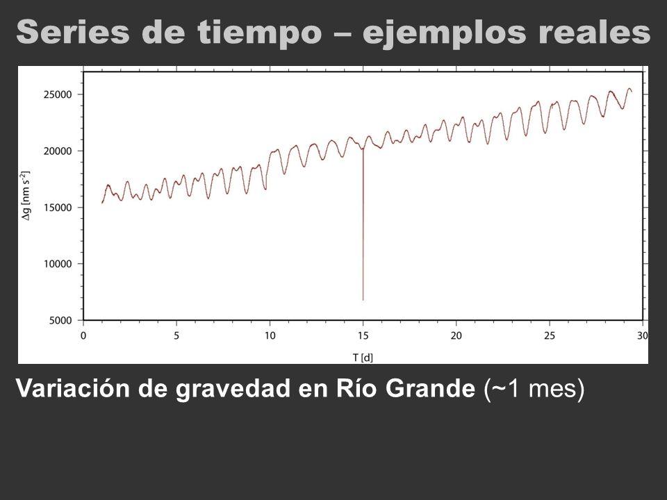 Series de tiempo – ejemplos reales Variación de gravedad en Río Grande (~1 mes)