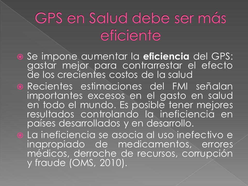 Se impone aumentar la eficiencia del GPS: gastar mejor para contrarrestar el efecto de los crecientes costos de la salud Recientes estimaciones del FM