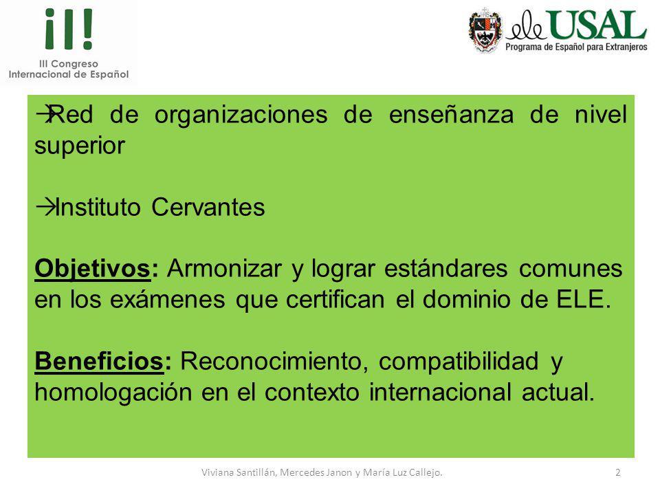 Viviana Santillán, Mercedes Janon y María Luz Callejo.1 Diseño de exámenes con certificación internacional SICELE (Sistema Internacional de Certificac