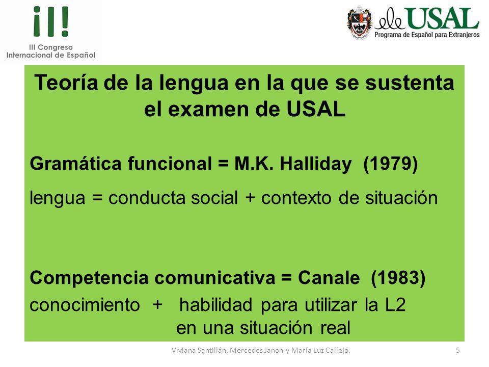 Viviana Santillán, Mercedes Janon y María Luz Callejo.4 Estándares de calidad del SICELE Planificación y diseño: Teoría de la lengua en la que se sust