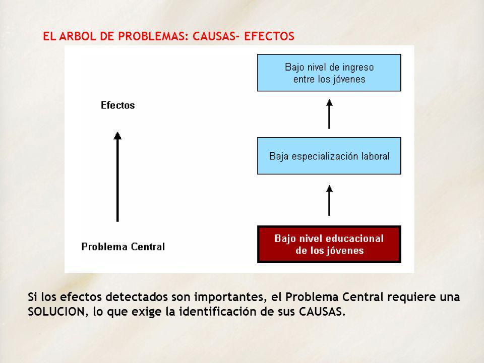 EL ARBOL DE PROBLEMAS: CAUSAS- EFECTOS Si los efectos detectados son importantes, el Problema Central requiere una SOLUCION, lo que exige la identific
