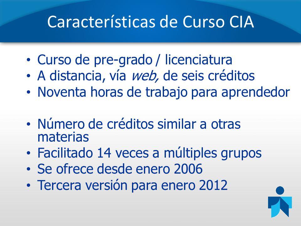 Características de Curso CIA Curso de pre-grado / licenciatura A distancia, vía web, de seis créditos Noventa horas de trabajo para aprendedor Número