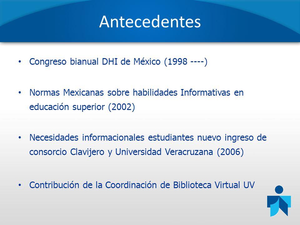 Antecedentes Congreso bianual DHI de México (1998 ----) Normas Mexicanas sobre habilidades Informativas en educación superior (2002) Necesidades infor