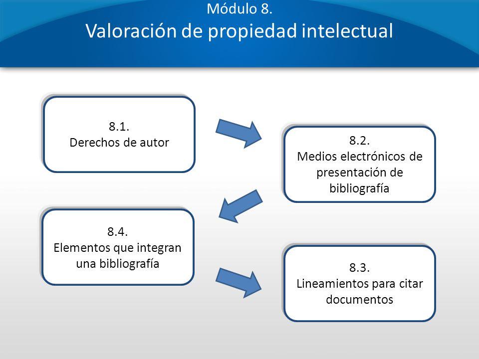 Módulo 8. Valoración de propiedad intelectual 8.1. Derechos de autor 8.4. Elementos que integran una bibliografía 8.2. Medios electrónicos de presenta