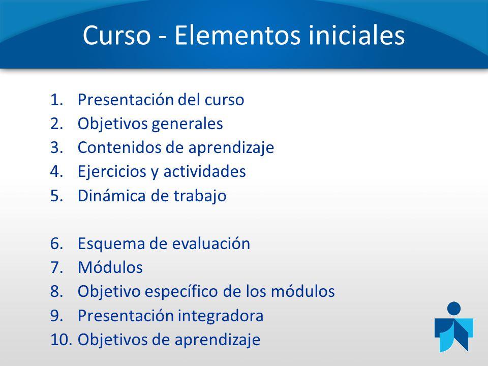 Curso - Elementos iniciales 1.Presentación del curso 2.Objetivos generales 3.Contenidos de aprendizaje 4.Ejercicios y actividades 5.Dinámica de trabaj