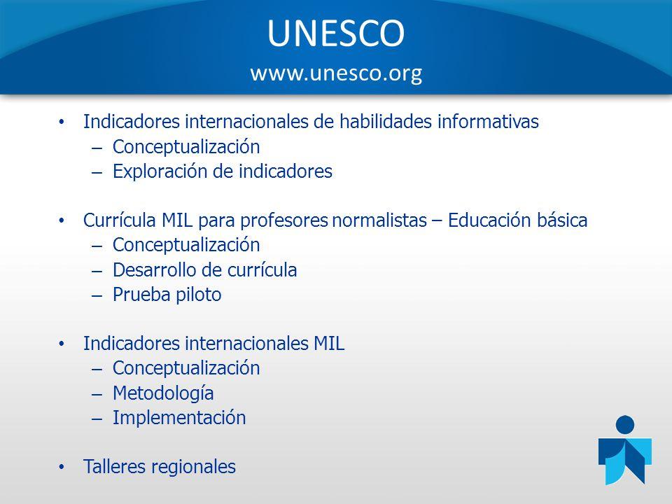 UNESCO www.unesco.org Indicadores internacionales de habilidades informativas – Conceptualización – Exploración de indicadores Currícula MIL para prof