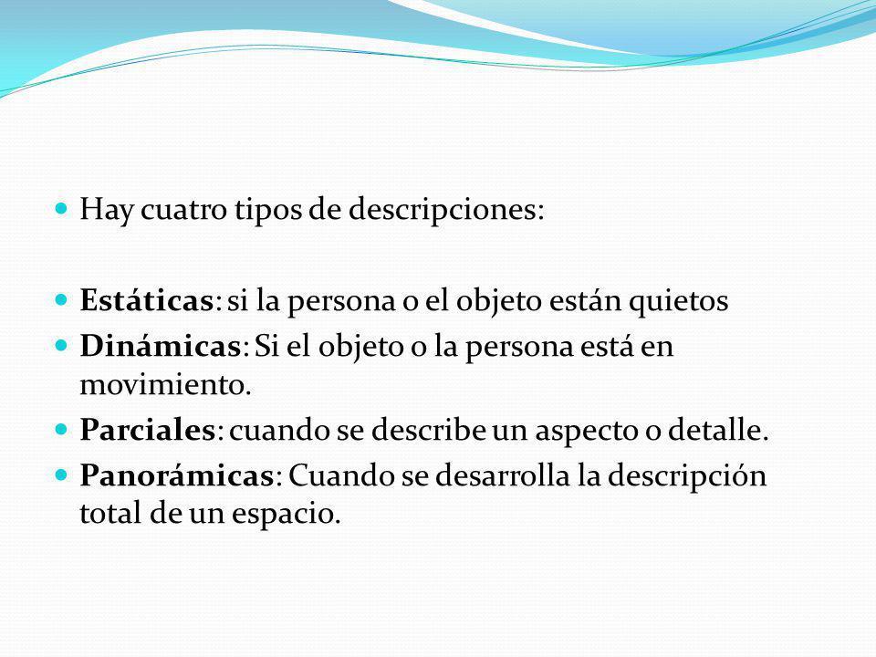 Hay cuatro tipos de descripciones: Estáticas: si la persona o el objeto están quietos Dinámicas: Si el objeto o la persona está en movimiento. Parcial