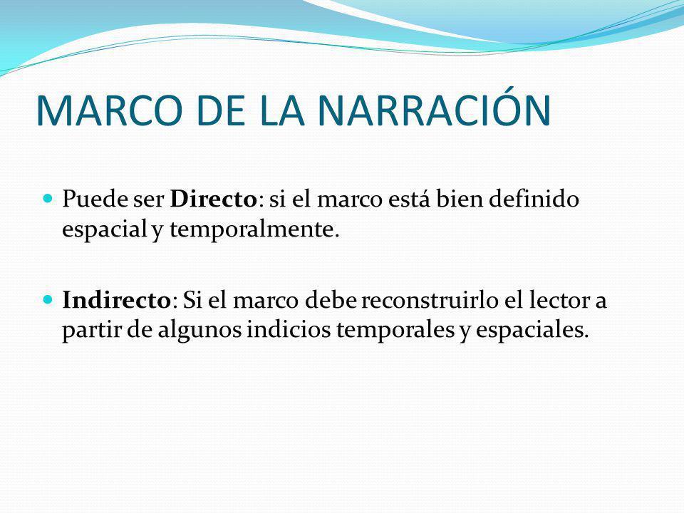MARCO DE LA NARRACIÓN Puede ser Directo: si el marco está bien definido espacial y temporalmente. Indirecto: Si el marco debe reconstruirlo el lector