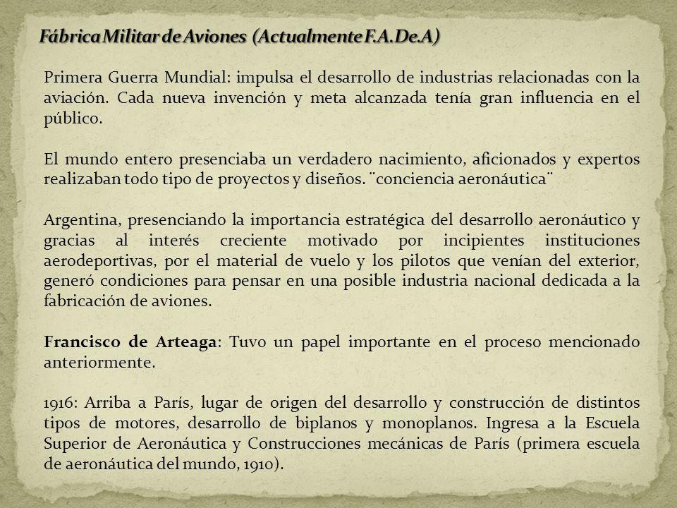 Primera Guerra Mundial: impulsa el desarrollo de industrias relacionadas con la aviación. Cada nueva invención y meta alcanzada tenía gran influencia