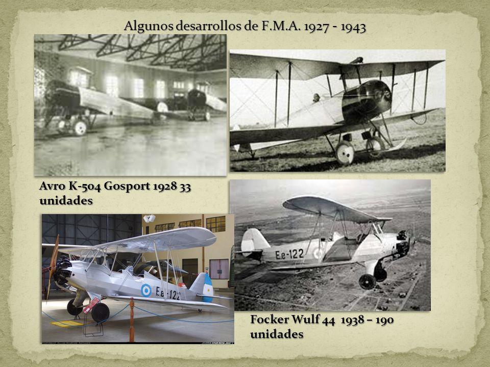 Algunos desarrollos de F.M.A. 1927 - 1943 Avro K-504 Gosport 1928 33 unidades Focker Wulf 44 1938 – 190 unidades