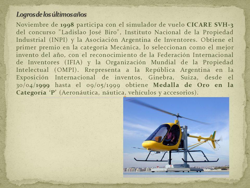 Noviembre de 1998 participa con el simulador de vuelo CICARE SVH-3 del concurso