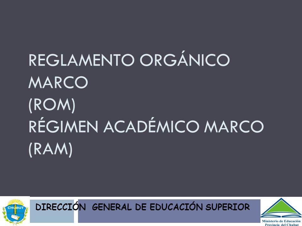 REGLAMENTO ORGÁNICO MARCO (ROM) RÉGIMEN ACADÉMICO MARCO (RAM) DIRECCIÓN GENERAL DE EDUCACIÓN SUPERIOR