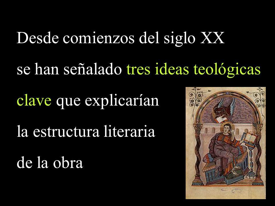 Desde comienzos del siglo XX se han señalado tres ideas teológicas clave que explicarían la estructura literaria de la obra