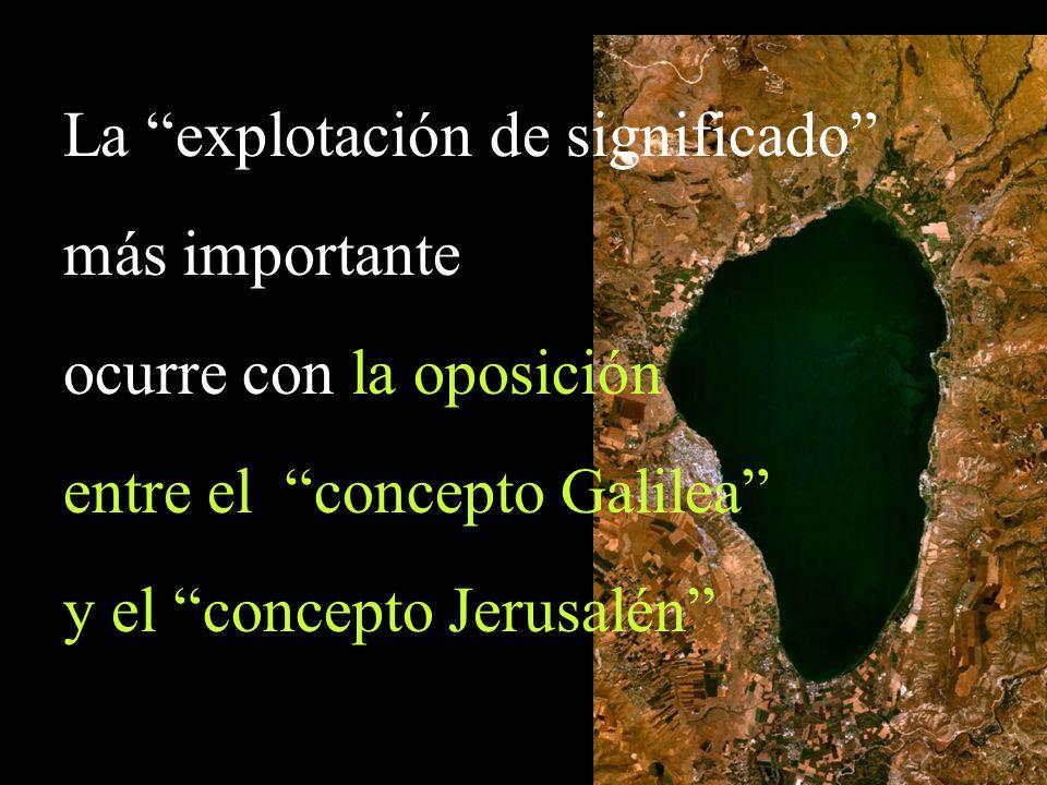 La explotación de significado más importante ocurre con la oposición entre el concepto Galilea y el concepto Jerusalén