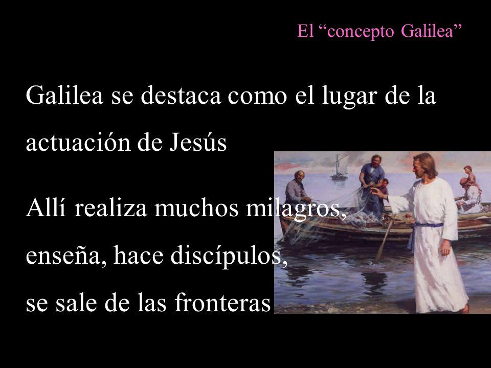 El concepto Galilea Galilea se destaca como el lugar de la actuación de Jesús Allí realiza muchos milagros, enseña, hace discípulos, se sale de las fr